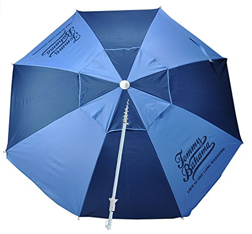Tommy Bahama 7 ft Fiberglass Beach Umbrella for Sand with Integrated Anchor, Telescopic Aluminum Pole, UPF 50+, Tilt, No Table