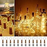 Luz de Botella, paquete de 12 luces de botella de alambre de cobre LED de 2 m 20, cadena de luces con pilas para decoración de boda, Navidad, Halloween (blanco cálido)