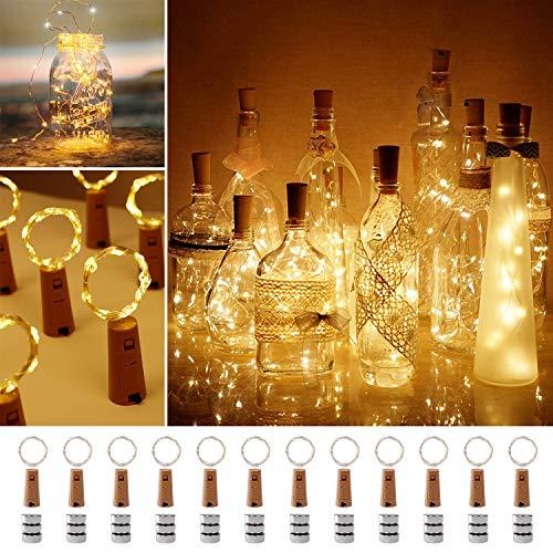 Led Flaschenlicht, 12 Packung 2m 20 Kupferdraht Lichterkette für Flasche, Batteriebetriebene Lichterkette für DIY-Hochzeits Party, Weihnachten Halloween Dekoration (Warm-weiß)