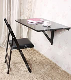 Haotian Folding Wall-Mounted Drop-Leaf, Kitchen Dining Table, Wooden Children Desk, US3-FWT02-SCH-FBA, Black