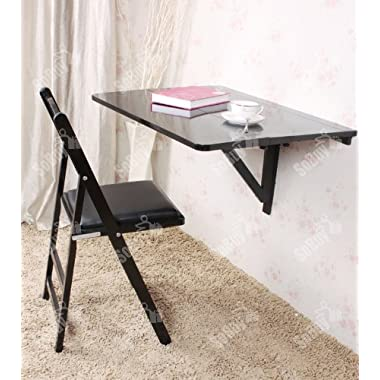 Haotian Wall-mounted Drop-leaf Table, Double Folding Kitchen & Dining Solid Wood Table Desk, 80cm(31.5in)×60cm(23.6in), black, FWT02-SCH