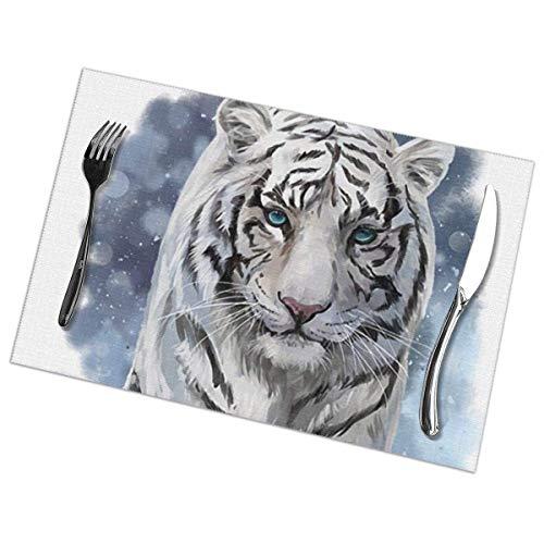 Manteles Individuales Lavables Salvamantele Individuales PVC Pintura de Tigre Chino,Antideslizantes Resistente al Calor Juego de 6 para la Mesa de Comedor de Cocina 30x45cm