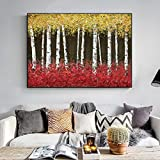Sala de Estar Pared Decoración Pintura Dibujado a Mano Resumen Bosque de Abedul Hogar Decor Pintura al óleo Hermoso Lienzo Arte Cuadro,Noframe,50x80cm