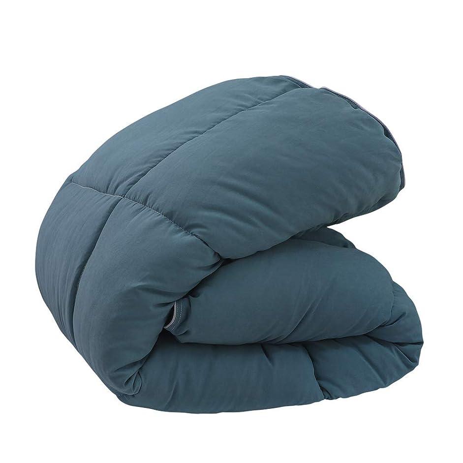 悪性復讐夜間カオ(GANEN) 掛け布団 ダブル 増量タイプ かけ布団 ボリュームたっぷり 洗える掛けふとん 抗菌防臭加工 中綿2.6kg 総重量3.5kg 圧縮袋付き ブルー ダブル