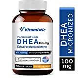 Vitamistic DHEA 100mg 90 Veggie Capsules, Micronized for High Absorption and Max Potency, Hormone Balance Formula, Non-GMO Gluten Free Dairy Soy Free, Supports Energy, Healthy Mood and Immune Function