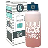 Teacher Tumbler Gifts - Teacher Water Bottle Travel Cup for Women - Double Walled Vacuum Sealed Stainless Steel 32 oz Tumbler (Teach Love Inspire Rose Gold)