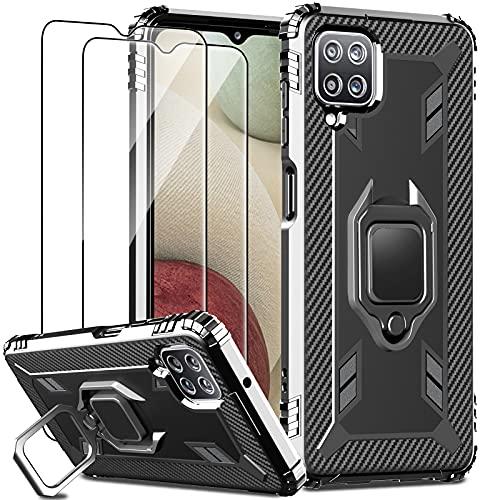 IMBZBK Funda para Samsung Galaxy A12 Nacho  A12  M12 Carcasa + [2 Pack] Protector Pantalla Cristal Templado, [Soporte Giratorio de 360 Grados con Anillo de Dedo][Grado Militar Anti-Golpe] TPU-Negro
