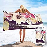 Gebrb Toalla de baño de Microfibra,Toallas de Gimnasio,Water Color Flower with Strips Microfiber Fast Drying Towels Suitable for Camping, Backpacking,Gym, Beach, Swimming,Yoga
