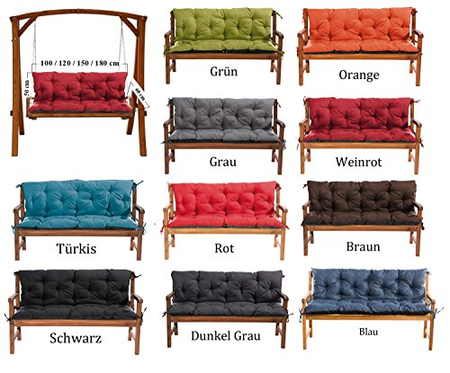 MH Gartenbankauflage Bankauflage Bankkissen Sitzkissen 120 x 60 x 50 cm Polsterauflage Sitzpolster (grau)