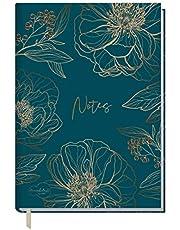 Trendstuff by Häfft notatnik A5 w linie [złoty kwiat] firmy Häfft, 126 stron, 63 arkuszy, idealny jako pamiętnik, Bullet Journal, książka z pomysłami, zeszyt do pisania | trwały i neutralny dla środowiska