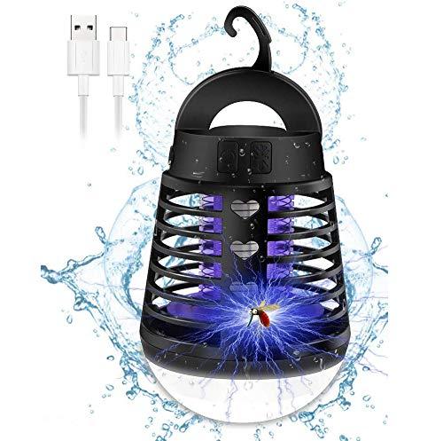 2 en 1 Mosquito Killer Lámpara LED,Lámpara Antimosquitos Portátil con Luz de Camping, Antimosquitos Lámpara con Gancho retráctil,Mosquito Impermeable Recargable USB para Patios, Jardin,Exterior