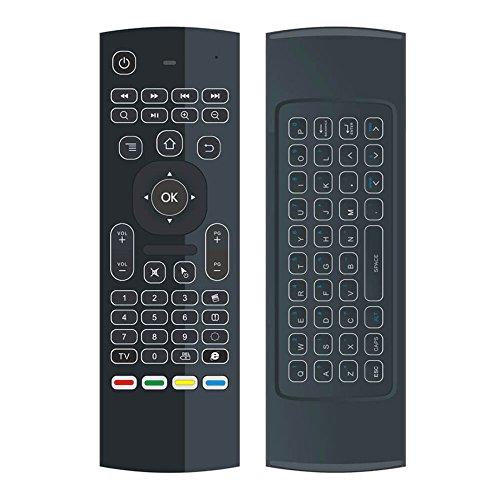 YFish Mando a Distancia con Mini Teclado Universal Inalámbrico 2 en 1 Ratón Inteligente para Tele Ordenador Smart TV Box con Android Mac OS Windows Linux 2.4GHz RF-Visión Nocturna (Luz de Fondo)