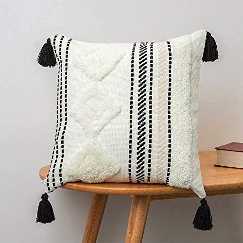 Funda de cojín bohemia decorativa para el hogar, con borla, tejido muy suave, para sofá, dormitorio, salón, coche, oficina, 50 x 50 cm (negro y blanco)