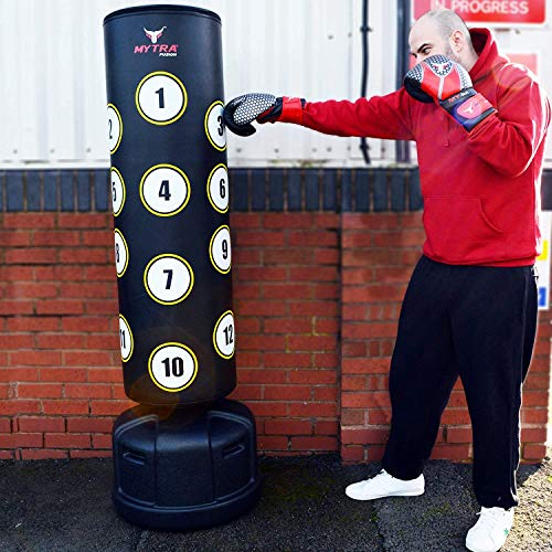 Mytra Fusion Pedestal 6ft Boxing Bag Free Standing Punching Target Boxing Stand (Black)