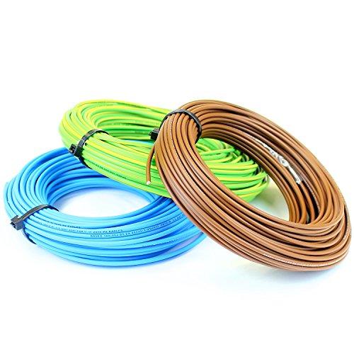 Ali's DIY - Cable conductor 6491X de 4 mm de un solo núcleo, azul vivo, marrón neutro, amarillo / verde tierra