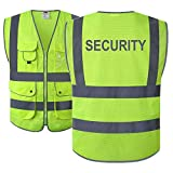 JKSafety 9 Pockets Class 2 Security Hi-Vis HQ Mesh Lite Hi-Vis Zipper Front Safety Vest | Neon Color Body with Retro-Reflective Strips | Comply ANSI/ISEA Safety Standards (Security-Yellow, X-Large)
