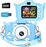 Kids Digital Camera,Girls and Boys Birthday Toy Gifts for 4-9-Year-Old Children, Dual Lens 8.0MP Toddler Cameras, Child Camcorder Video Recorder 1080P IPS 2.0 Inch with 32G TF Card, Cat Soft Silicon…