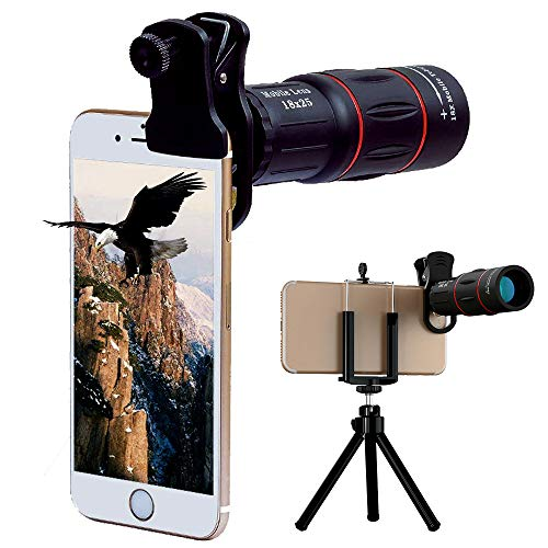 Universal 18X Monocular telescope with Eyecup Telephoto Zoom Camera Mobile Smartphone Lens with Tripod Mount for iPhone X/8 7 Plus/6S Samsung Galaxy S9 S8 S7 Huawei P10 and most Android Smartphone