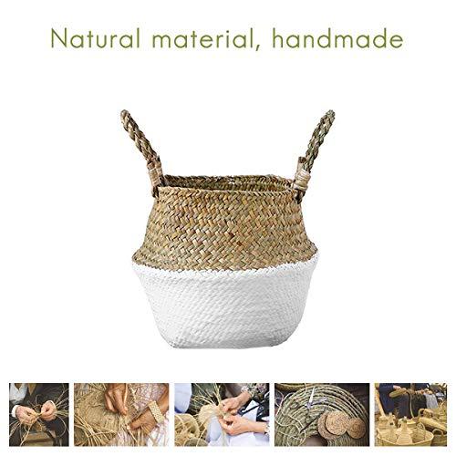 Cesta de hierba marina, cestas de almacenamiento plegables, cestas para pinzas ropa, cesta para flores, con asas para colgar, bolsa de paja., natural, J, Small