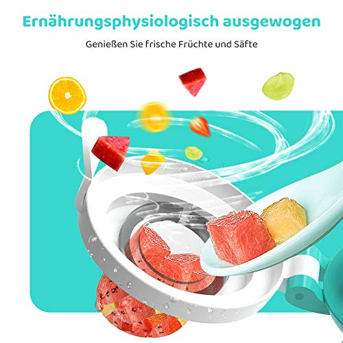 CalMyotis Fruchtsauger Baby, 2 Stück Kleinkind Fruchtsauger Schnuller Beißring für Obst Gemüse Brei, BPA frei, 6 Silikon Sauger in 3 Größen (Blau + Grün) - 5