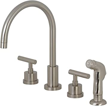 Amazon Com Kingston Brass Ks8728cml Manhattan Widespread Kitchen Faucet With Abs Sprayer 7 7 8 Inch Brushed Nickel Home Improvement