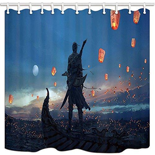 Anime Dusche Vorhänge Cool Japanische Ninja verstecktem Warrior Sky Laterne Polyester-Schimmelresistent-Bad Vorhang Badezimmer Dusche Vorhang Set mit Haken 180x 180cm Badezimmer Zubehör