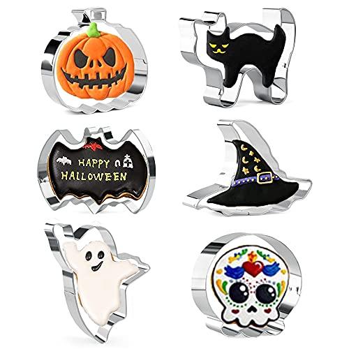 Cortadores de galletas de Halloween, 6 piezas de cortadores de galletas de acero inoxidable - Fantasma, murciélago, calabaza, gato, calavera y sombrero de bruja para fondant de Halloween