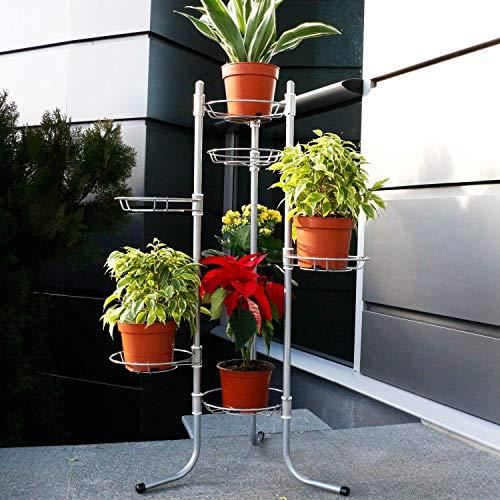 Silber 7 Blumenablage Blumenständer Pflanzentreppe Blumensäule faltbar