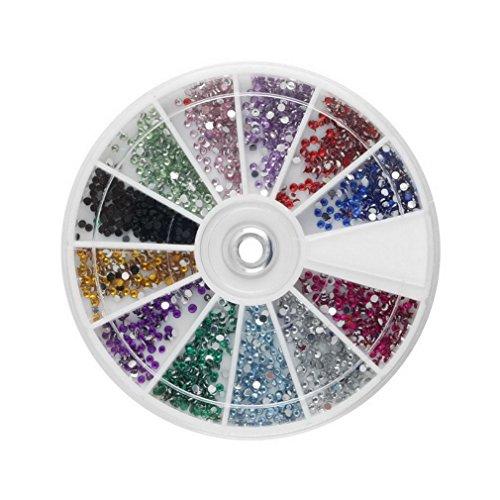 WEQQ 12 Farben Super Shiny 1,5 mm 3600 Stück Nail Art 3D DIY Strass Dekoration (zufällig)