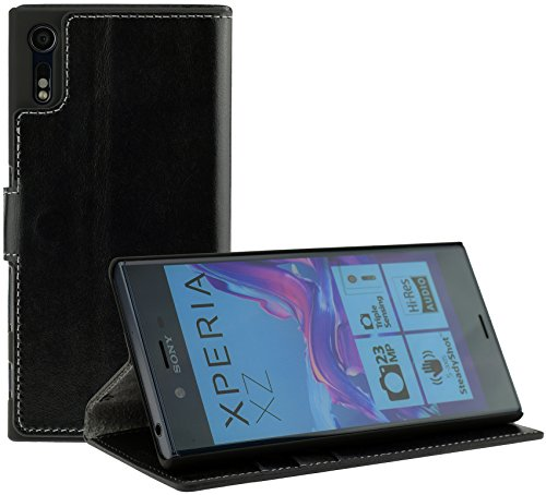 Suncase Book-Style (Slim-Fit) für Sony Xperia XZ | Sony Xperia XZs Ledertasche Leder Tasche Handytasche Schutzhülle Case Hülle (mit Standfunktion und Kartenfach) schwarz