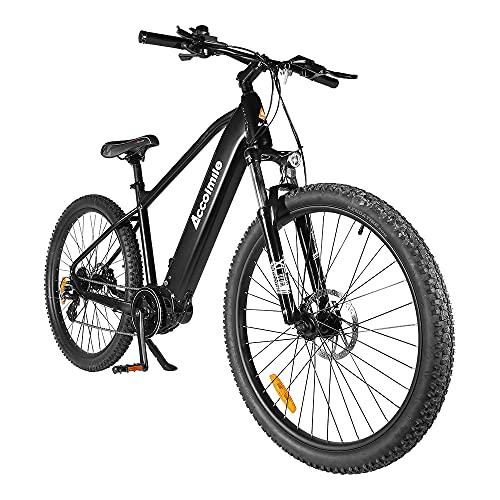 Accolmile Bicicleta Eléctrica de Montaña de 27,5 Pulgadas, M200 Torque Mid Motor 36V 250W, Batería de Litio de 15 Ah, Horquilla Delantera con Suspensión y Shimano de 8 Velocidades