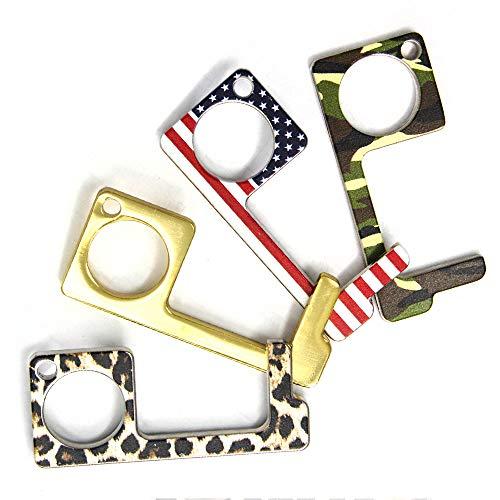Me Plus 4pcs Fashion Print Clean Key Door No Touch Door Opener Tool Handheld Brass EDC Keychain