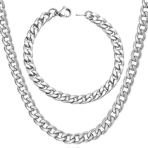 """WELRDFG Men Chain Jewelry 5mm/6mm/7mm Wide Stainless Steel Snake chain 18K Gold Plated Figaro Chain Set (Bracelet 8.3 Inch, Necklace 18"""" 22"""" 26"""" 28"""" ) (Cuban chain stainless steel (7mm wide), 26.0)"""