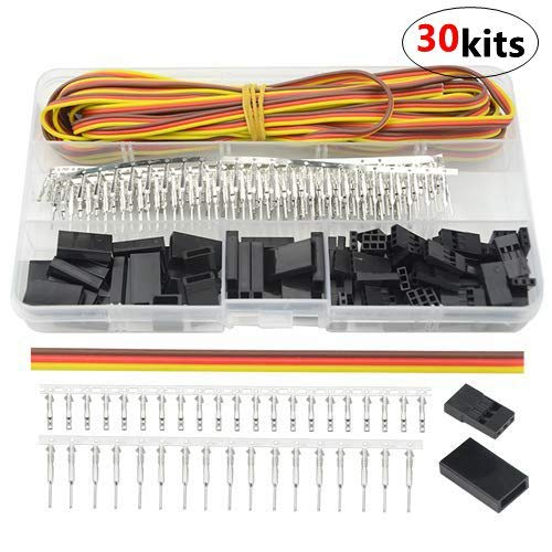 WMYCONGCONG 30 Kits Servo Connector Servo Cable Wire Connector Male Female Kit w/ 16Ft 22Awg Servo Wire for JR Futaba Style Servo Connector