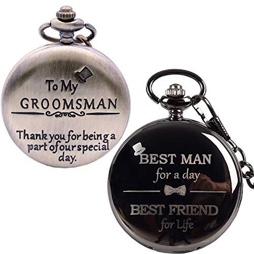 Best Man Groomsmen Gifts for Wedding or Proposal - Engraved'to My Groomsman' Combination Best Man Pocket Watch - Luxury Wedding Gift