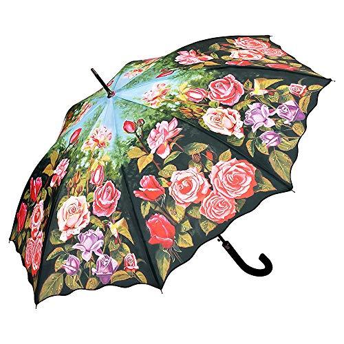 VON LILIENFELD Regenschirm Rosengarten Auf-Automatik Damen Stabil Stockschirm Blumen