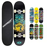 Osprey Skateboard Complet idéal pour Enfants Débutants - Planche de Skate 79 cm, Érable Lamellé 7 plis Double Kick Concave, Trucks Aluminium Axe 13 cm, Roulements ABEC 5 608z - 6x Designs Colorés
