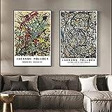 Carteles e impresiones Jackson Pollock lienzo pintura abstracta galería de bellas artes cuadros de arte de pared para la decoración de la sala de estar 25x35cm (10x14in) x2 sin marco