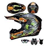 Casco Motocross Bambini e cartoon pictures Occhiali e Guanti da Motocross per Bambini Cross e...