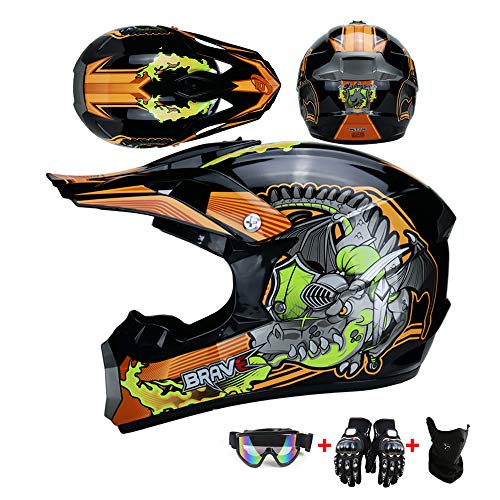 Kinder Crosshelm Motorradhelm Helm Cartoon-Muster Kinderhelm Kinder Cross BMX MX Enduro Helm Fullface Motorrad DH Cross Offroad Enduro Mountainbike Helme mit Visier Brille Handschuhe Maske,Orange,S