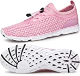 DOUSSPRT Womens Water Shoes Quick Drying Sports Aqua Shoes for Boat Kayak Hiking Swim Pool River Sneakers Pink US Size 8