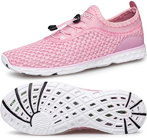 DOUSSPRT Womens Water Shoes Quick Drying Sports Aqua Shoes for Boat Kayak Hiking Swim Pool River Sneakers Pink US Size 7