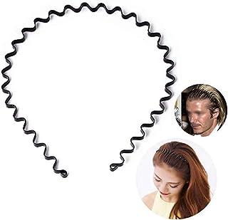 Wendingstan 3 pcs Set Unisex Black Spring Wavy Metal Hair Hoop Band Men Women Sports Headband Headwear Accessories