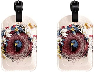 Bird NestLeather Luggage Tags Suitcase Labels Bag Travel ID Bag Tag, 1 Pcs