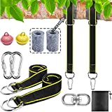 WJPILIS Tree Swing Straps Hanging Kit,Two 5ft Adjustable Swing Straps Holds up 2500lbs,Hammock Tree Straps with 2 Heavy Duty Lock Carabiner+2 Tree Protector Sleeves for All Swing Types Easy Hanging
