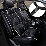 MAGQOO Universal PU Leather Car Seat Cover Full Set 5-Seat Front&Rear Cushions Full Seat with Pillows Fit for SUV Truck Van Year Round Use (Black/White Line)