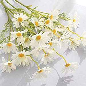 Silk Daisy Wildflower, 6 Branches Colorful Outdoor Daisy Shrubs Floral for Vase, Table, Windowsill, Wedding, Yard Decor, White