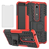 Phone Case for Nokia 6.1 / Nokia 6 2018 with Tempered Glass Screen Protector Cover and Stand Kickstand Hard Rugged Hybrid Protective Cell Accessories Nokia6.1 TA-1045 Cases Women Men Girls Black Red