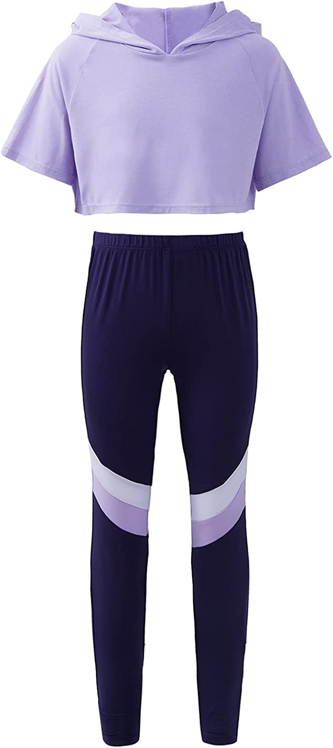Kaerm Kids Girls Shorts Sleeves Crop Tops with Leggings Activewear Set Workout Dance Gymnastic Outfits