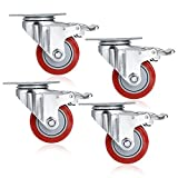COOCHEER 3'' PVC Heavy Duty Swivel Caster Wheels 1000Lbs 360 Degree Top Plate with Brake Pack of 4 (red)